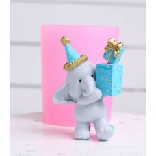 Silicone mold Elephant with a gift