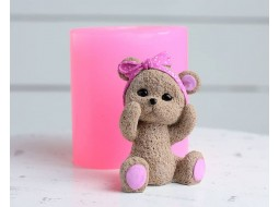 Silicone mold Teddy bear with a bow