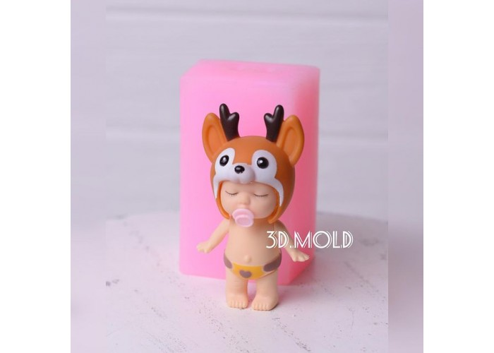 Silicone mold Baby in a fawn hat