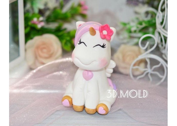 Silicone mold Unicorn with flower