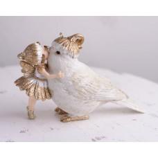 Silicone mold Girl with a bird