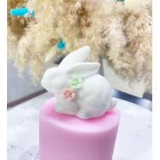 Silicone mold Rabbit with flowers