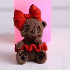 Silicone mold Bear with a bow in a skirt