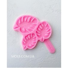 Silicone mold Lollipops monstera leaves