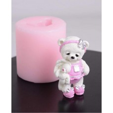 Silicone mold Teddy bear stands with a bunny