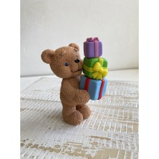 Silicone mold Teddy bear with 3 gifts