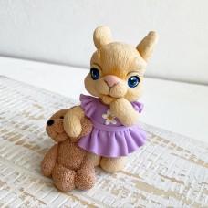 Silicone mold Bunny with teddy bear