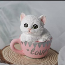 Silicone mold Kitten in a cup
